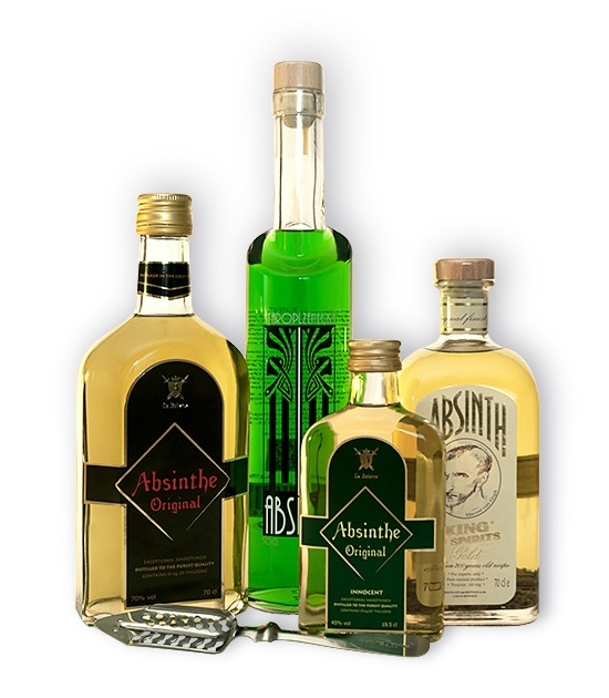 Three full size absinthe bottles and free absinthe gifts. Staroplzenecky Absinth and King Gold Absinth