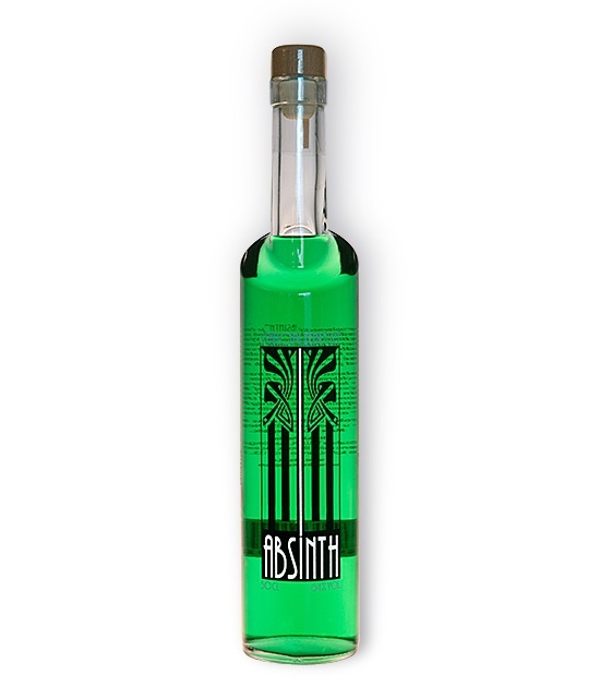 Emerald green long neck bottle of Staroplzenecky Absinth, bottled at 64% abv