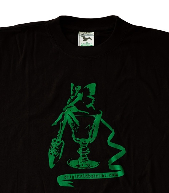 Detail of Absinthe T-shirt with Green Fairy green screenprint design