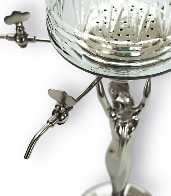 Lady Absinthe Fountain - detail of glass bowl, metal taps and stand.