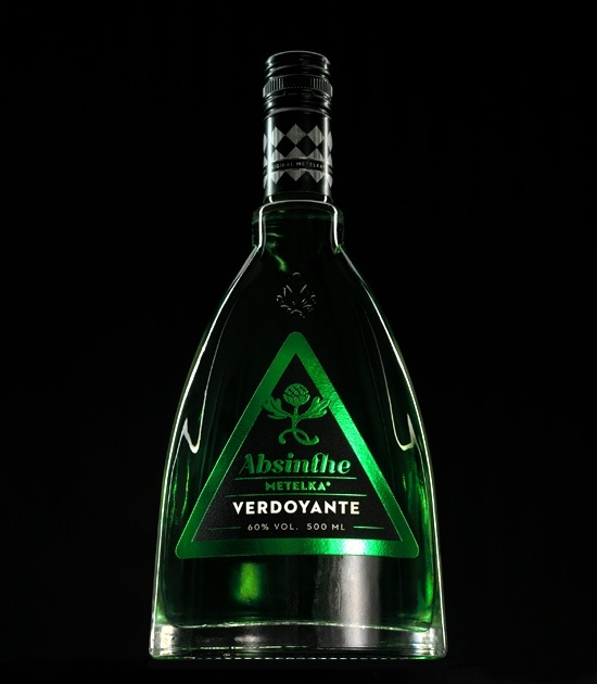 Metelka Absinthe Verdoyante during night. Fine absinthe bohemian style liquor with less anise.