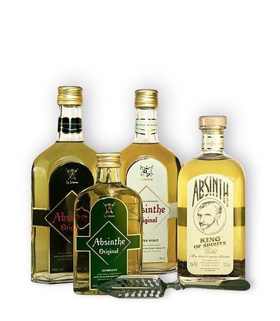 Finest Absinthe Original Bitter Set - Three bottles of Premium Absinthe, free spoon and free bottle