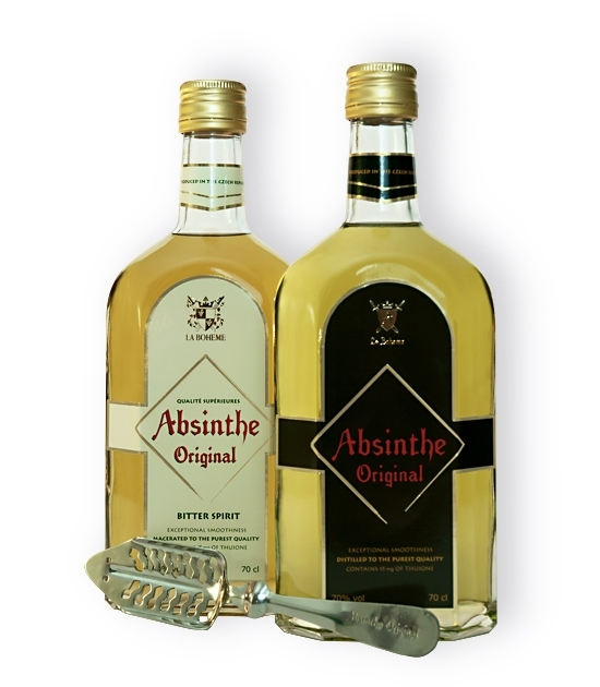 Two bottles of premium La Boheme Original Absinthe and replica of traditional absinthe spoon