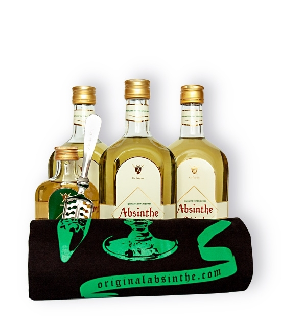 Three bottles of premium absinthe drink, Absinthe Bitter Spirit, free t-shirt, free bottle and absinthe spoon.