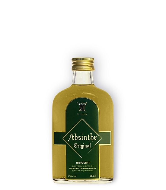 Pocket size bottle of Absinthe Innocent, great real absinthe for the first time drinker.