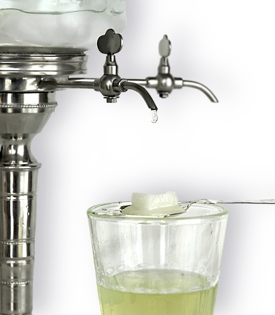 Fountain spout and glass with spoon detail, traditional art deco absinthe water fountain