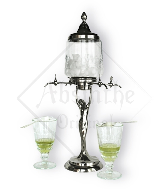 Handmade lady absinthe fountain for slow-drip absinthe preparation, four spouts enabling serving four glasses of absinthe.