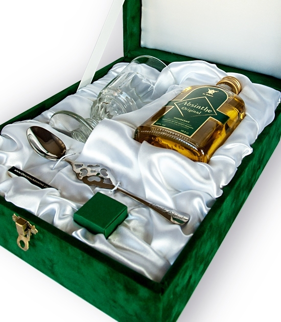Absinthe Gift Box detail with absinthe spoon, sugar cubes, box of matches and Pontarlier absinthe glass.