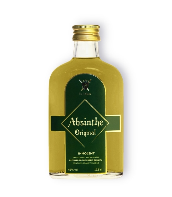 Fine liquor Absinthe Innocent, 35mg Thujone in handsomely designed small, pocket sized bottle.