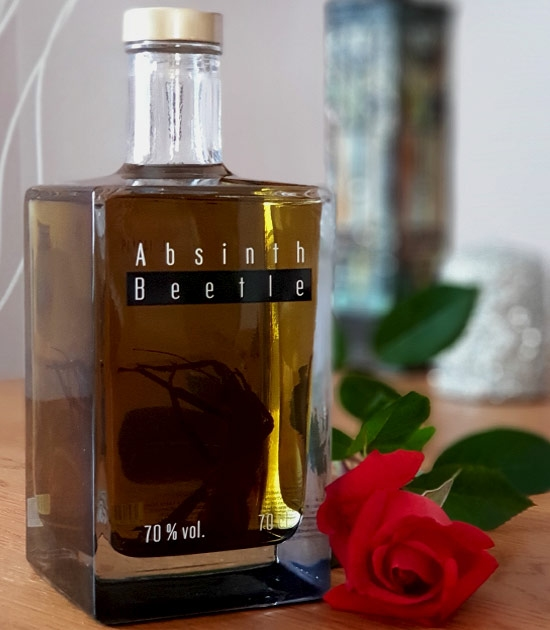 Original Absinth Beetle, 140 proof with Thujone and Bug in Absinthe.