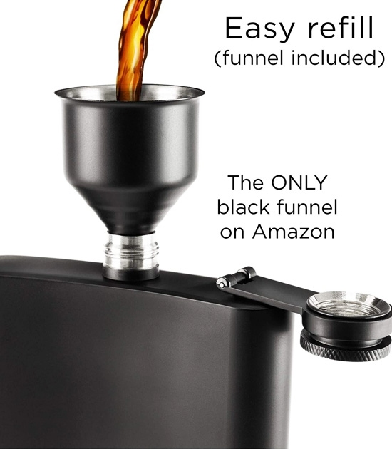 Refillable 8oz black flask with a little funnel for easy refill.