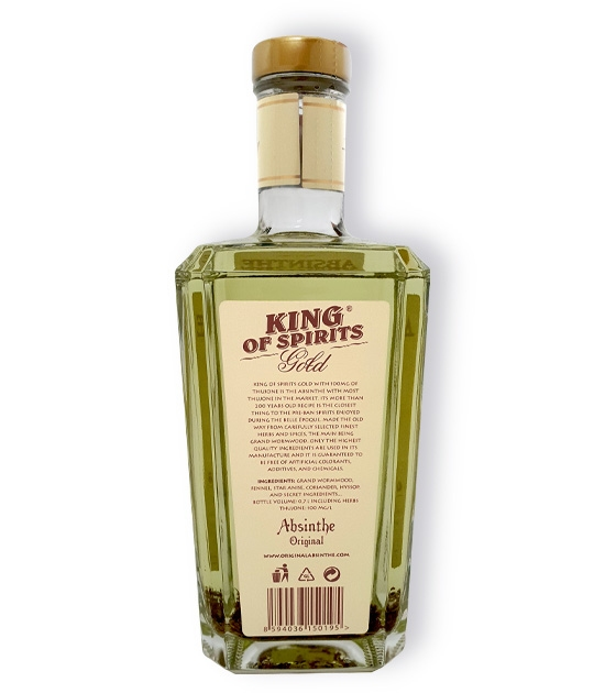 Back label of Absinthe King of Spirits Gold. 70% ABV, 100 mg of wormwood thujone, no additives.