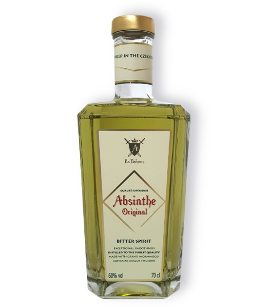 La Boheme Absinthe Original Bitter Spirit bottled at 60% abv with 35mg of wormwood thujone.