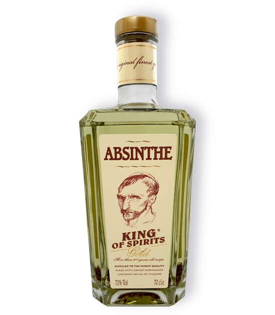 700ml bottle of Absinthe King of Spirits Gold bottled at 70% ABV and 100 mg of thujone.