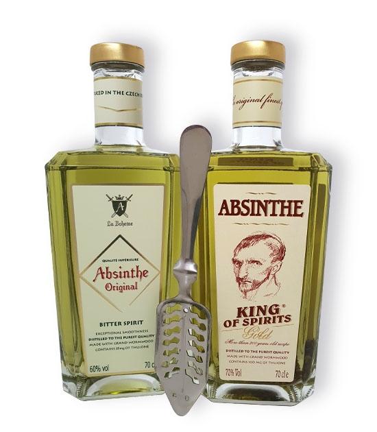 Premium absinthe - 2 bottles of Absinthe  Bitter Spirit & King Gold Absinthe, free absinthe spoon as a gift.