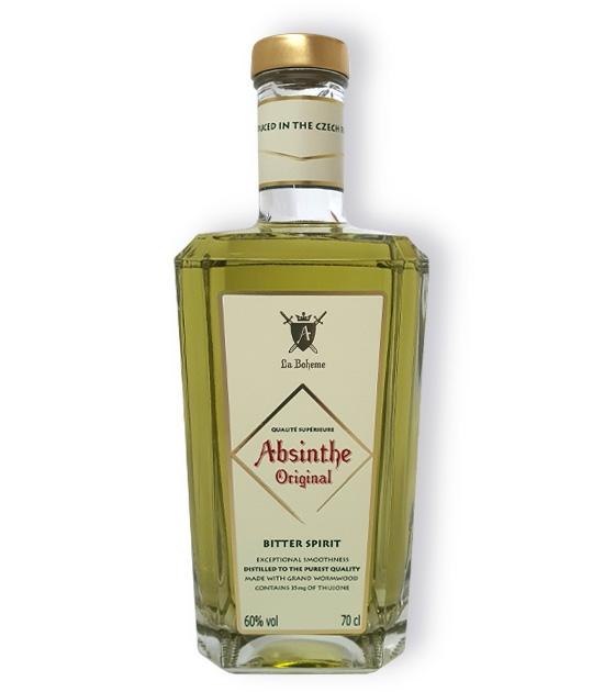 New bottle of Absinthe Bitter Spirit, premium hand-made absinthe with 35mg of thujone, bottled at 60% ABV.