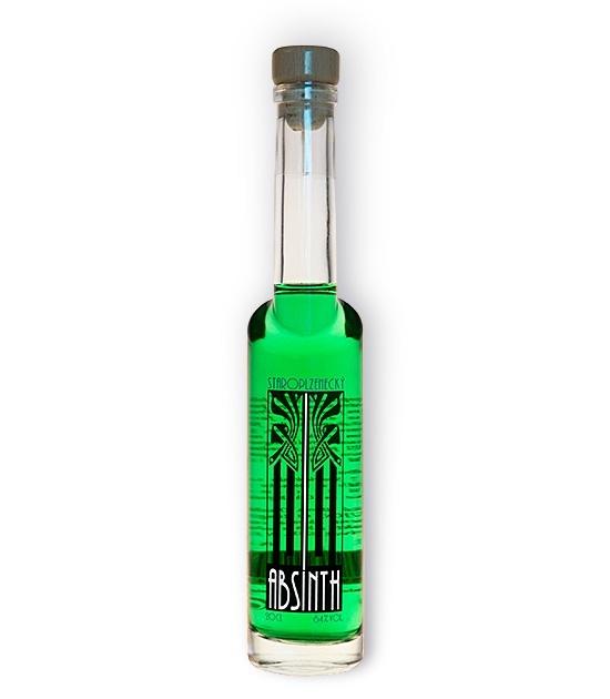 Smaller bottle of Staroplzenecky absinth, emerald green absinthe with thujone