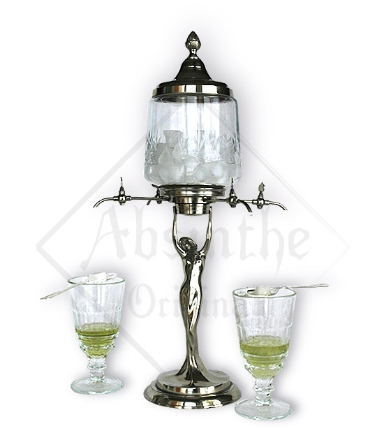 Art nouveau Lady Absinthe Fountain, four taps, large bowl