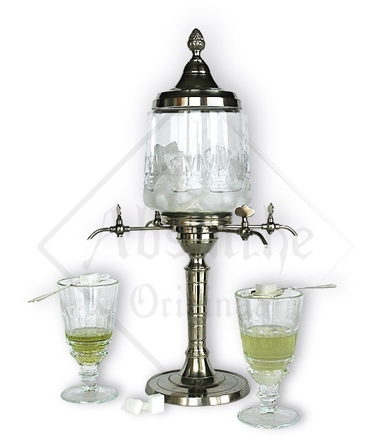 Art deco Metal Absinthe Fountain with Four Spouts and large glass bowl
