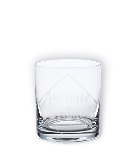 Modern, heavy based short tumbler absinthe glass