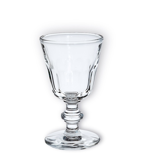 Heavy molded glass known as the 'Perigord' absinthe glass