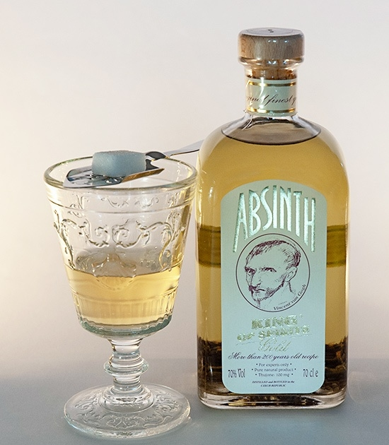 Absinthe Spoon with Sugar and Bottle of Absinth King of Spirits Gold