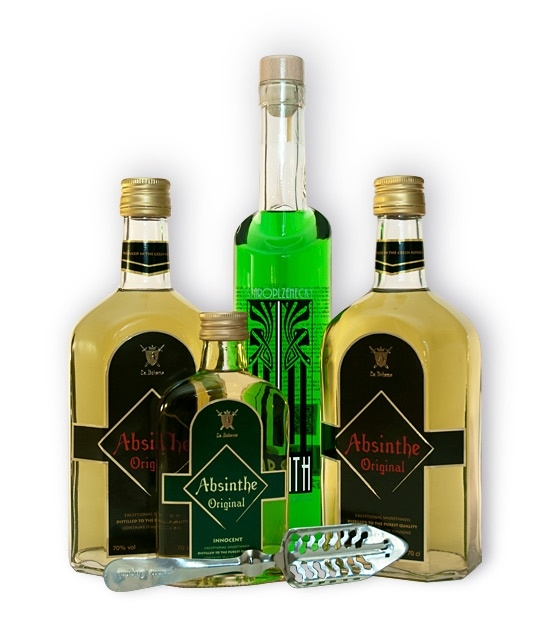 Two bottles of Absinthe Original, one Staroplzenecky Absinth, small Absinthe Innocent and Free Absinthe Spoon