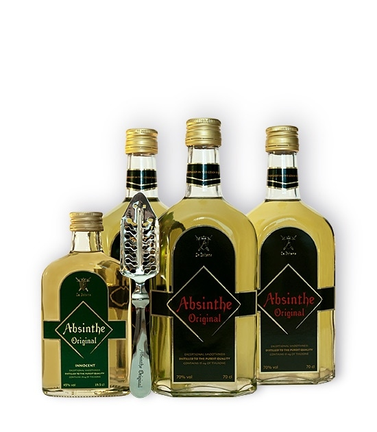 Three large bottles of La Boheme Absinthe Original, small bottle of Innocent Absinthe and Free spoon