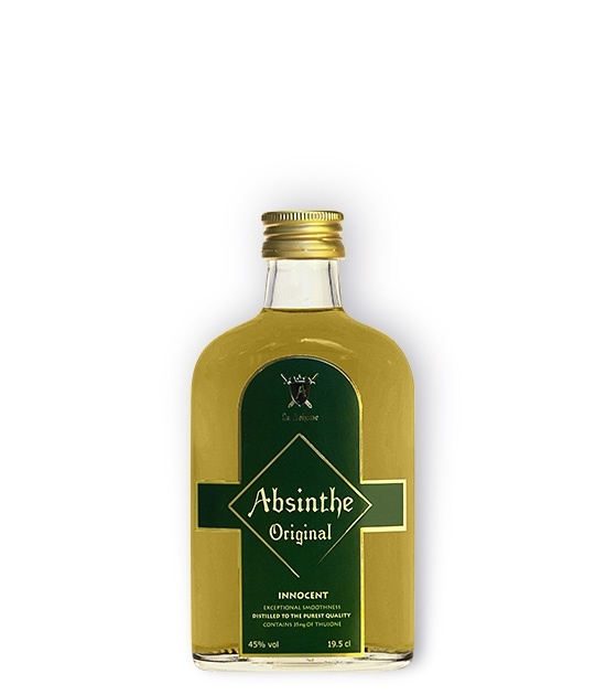 Small, pocket size bottle of Innocent Absinthe with 35mg of Thujone